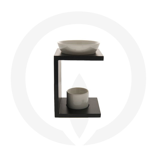 Eleuthia (Matt Black) Wooden Oil Burner