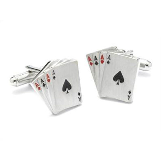 4 Aces Card Cufflinks with Display Box